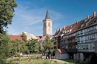 Kraemerbruecke and St Aegidien church, Erfurt, Thuringia, Germany