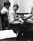 Bill Gates on the right and Paul Allen on the Left 1970, Bill Gates is a Freshman and Paul Allen is a Junior, Working at teletype terminals connected ...