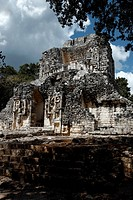 Mexico, Campeche State, Chicanna, archaeological mayan site, ruins, classic periods (years 300-800 A.D ) , structure XX, tallest building, Chac heads ...