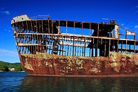 Wrecked ship near Dixon cove , Roatan island , country Honduras