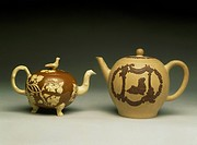 Teapot with embossed decorations, 1750-1765, earthenware and stoneware, Staffordshire manufacture. England, 18th century.