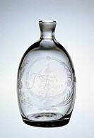 Engraved flask, 1792, New Bremen Glass factory built by Johann Friedrich Amelung. United States of America, 18th century.