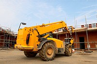 Forklift on House Construction Site
