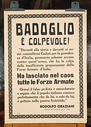 Poster with excerpts taken from a speech by General Rodolfo Graziani of 26 September 1943 that accused Marshal Pietro Badoglio of treason. World War I...