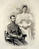 Portrait of Nicholas II of Russia (Tsarskoye Selo, 1868-Ekaterinburg, 1918) with Alexandra Feodorovna (Alix of Hesse), Tsar and Tsarina of Russia, eng...