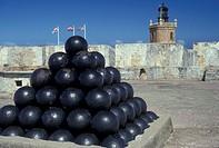 Puerto Rico, San Juan, Caribbean, Old San Juan, fort, Porto Rico, Caribbean Islands, Pile of cannonballs at Fort San Felipe del Morro (El Morro Castle...