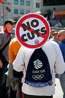 01 May 2013 - 14.48 pm - May Day Rally Demonstration Takes Place in Trafalgar Square, London - England - UK. No Cuts Man!.