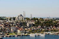 Turkey, Istanbul, View of Suleiman Mosque in city