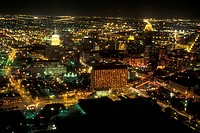 San Antonio, TX, Texas, Aerial view of downtown, evening