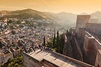 albaicin town in granada from alhambra.
