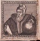 John Dee (From: The order of the Inspirati). Anonymous . Copper engraving. Baroque. 1659. Private Collection. Portrait. Graphic arts.