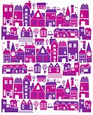 Pink and purple buildings in cityscape