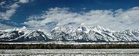 The Teton mountain range in late winter.