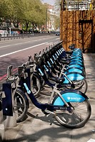Bikes for hire at Marylebone Road London.