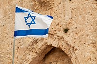 Israeli flag with the star of david;Jerusalem israel