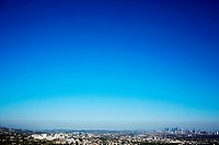 Cityscape and clear blue sky, Los Angeles, California, USA