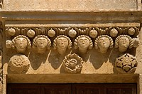 Matera, Basilicata, Italy. Cathedral 13thC Apulian Romanesque style in Piazza del Duomo. Detail above door in south wall.