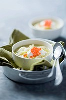 Leek soup with caviar