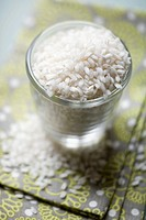 Arborio rice in a glass