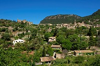 Townscape with the Charterhouse or Royal Carthusian Monastery of Valldemossa