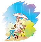 a couple under the umbrella