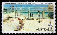 A Holiday at Mentone, 1888, painting by Charles Conder, postage stamp, Australia, 1989
