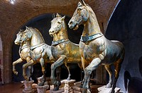 Europe, Italy, Veneto, Venice, classified as World Heritage by UNESCO. Saint Mark's Basilica, bronze horses decorate the Basilica.