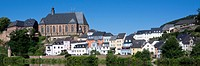 Panoramic view of Saarburg with the Parish church St. Laurentius, district Trier-Saarburg, Rhineland-Palatinate, Germany, Europe - 04/08/2012