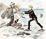 A Maiden in distress in Hastings Britain 1892 Girls sea side rescue holiday boy hats sailing travel fashion fear water alarmed anxious scared terrifie...
