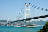 Tsing Ma Bridge viewed from Park Island, Ma Wan, Hong Kong