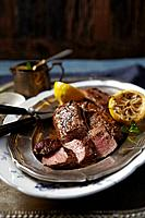 Lamb with lemons and mint sauce