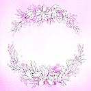 illustration flower frame in purple