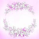 illustration flower frame in purple
