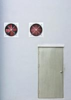 A pair of red industrial ventilated fan on grey wall with a stainless steel door as background.