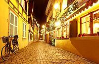 """""""""""""""""""""""La Petite Venise"""""""" (Little Venice) restaurant with Christmas decoration. Colmar. Wine route. Haut-Rhin. Alsace. France."""