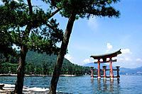 JAPAN, NEAR HIROSHIMA, MIYAJIMA ISLAND, OTORII GATE.