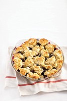 Blueberry Cobbler in glass bowl