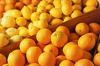 Citrus fruits, boxes filled with fresh Oranges and Lemons, close up.