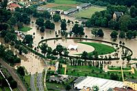 Headline: Flood water in Gera with flooding of the stadium, Thuringia, Germany, aerial photo