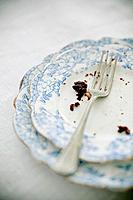 Detail of a fork and crumbs of a chocolate cake.