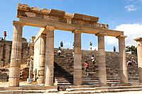 The Hellenistic Stoa and steps to the Propylaea at the Acropolis, Lindos, Rhodes, Greece.