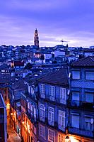 Overview to Torre dos Clerigos Porto Portugal at twilight.