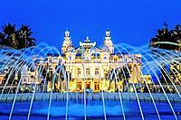 Principality of Monaco, Monte Carlo. Casino at night.