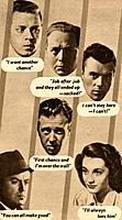 Film promo for Boys in Brown, 1949. The stars of the film include Richard Attenborough (top left) and Dirk Bogarde (top right). From Picturegoer, 10th...