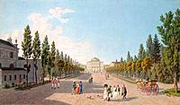 View of the Pavlovsk Palace from the Park, 1808. Lory, Gabriel Ludwig, the Elder (1763-1840). Found in the collection of the State Hermitage, St. Pete...