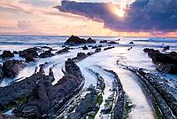 Sunset on the beach Barrika. Vizcaya. Basque Country. Spain. Europe.