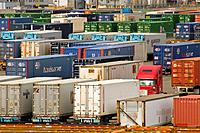 Cargo containers on trailers, parked at container ship terminal, Port of Tacoma, Washington.