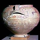 Geometric period Greek pot, found at Argos. In the Argos museum in Greece, 8th century BC.