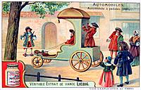 A car with pedals, 1690, (c1900). French advertising for Liebig Extract of Meat. Private Collection.