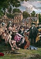William Penn, English Quaker colonist, treating with Native North Americans on the site of the city of Philadelphia, 1682 (1771-1772). Penn (1644-1718...
